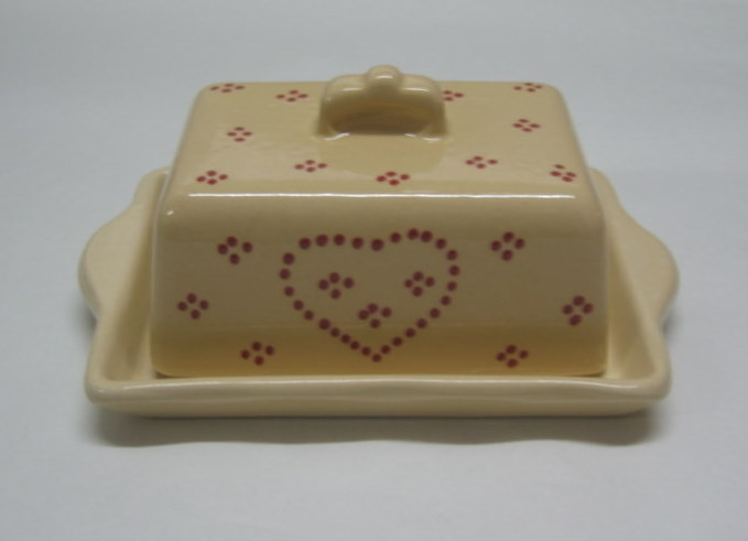 Butter dish cream heart
