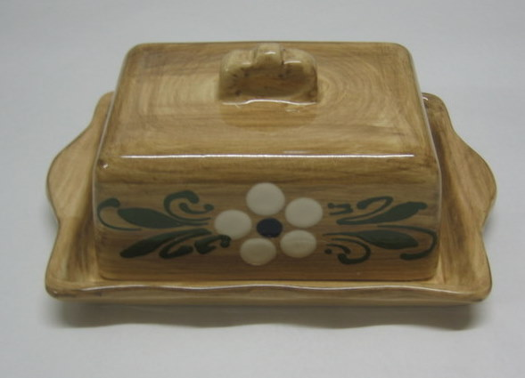 Butter dish fake wood