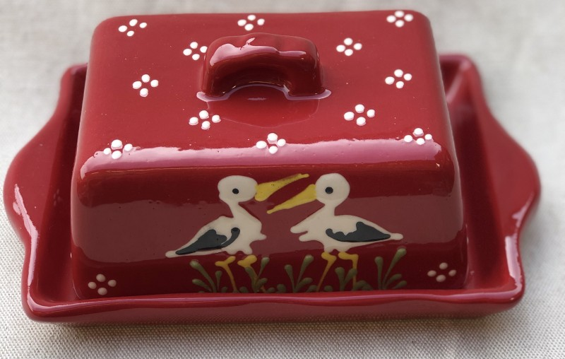 Butter dish red stork