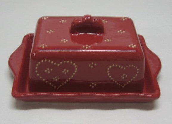 Butter dish red heart