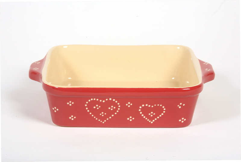 Square dish red heart
